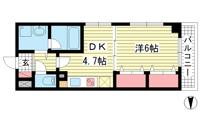 物件番号: 1025881814 エスペランサ御影Ⅱ  神戸市東灘区御影中町6丁目 1DK マンション 間取り図