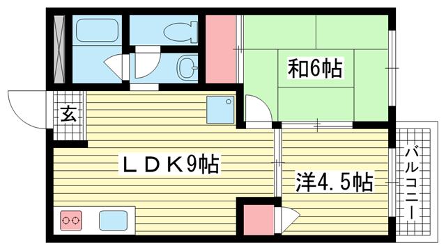 物件番号: 1025881816 ピュアハウスナダ  神戸市灘区岩屋中町4丁目 2LDK マンション 間取り図