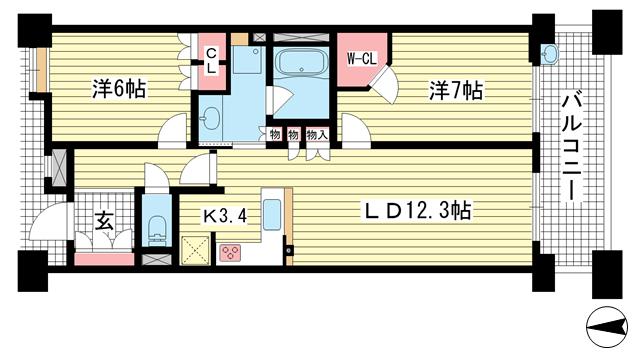 物件番号: 1025881819 ベリスタ神戸旧居留地  神戸市中央区海岸通 2LDK マンション 間取り図
