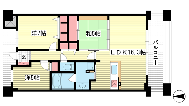 物件番号: 1025881820 ベリスタ神戸旧居留地  神戸市中央区海岸通 3SLDK マンション 間取り図