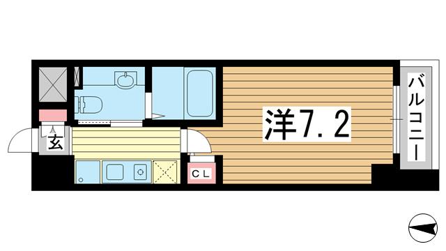 物件番号: 1025881822 アロハ三宮  神戸市中央区旭通3丁目 1K マンション 間取り図