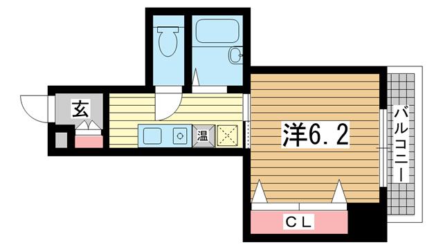 物件番号: 1025881823 アロハ三宮  神戸市中央区旭通3丁目 1K マンション 間取り図