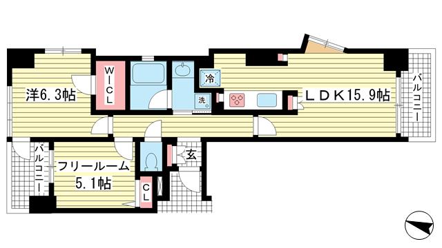 物件番号: 1025881848 ワコーレ中山手I.C.  神戸市中央区中山手通4丁目 1SLDK マンション 間取り図