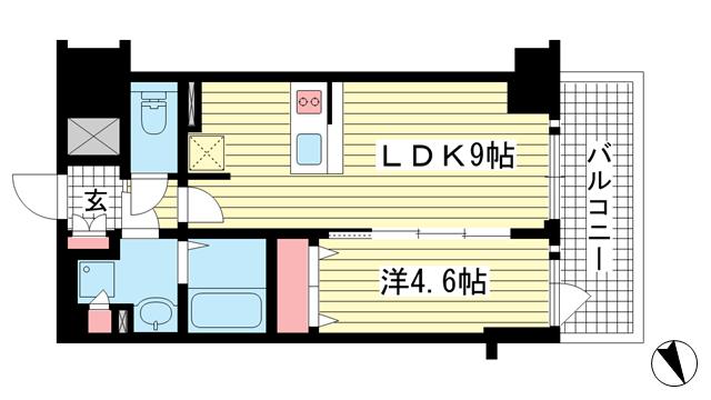 物件番号: 1025881865 プレサンス THE 神戸  神戸市兵庫区西出町 1LDK マンション 間取り図