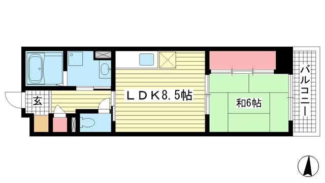 物件番号: 1025881868 コミュニティ春日野  神戸市中央区脇浜町3丁目 1LDK マンション 間取り図