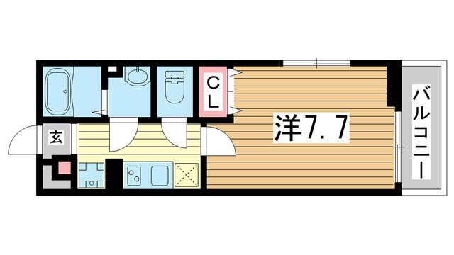 物件番号: 1025881880 旗塚レジデンス  神戸市中央区旗塚通1丁目 1K アパート 間取り図