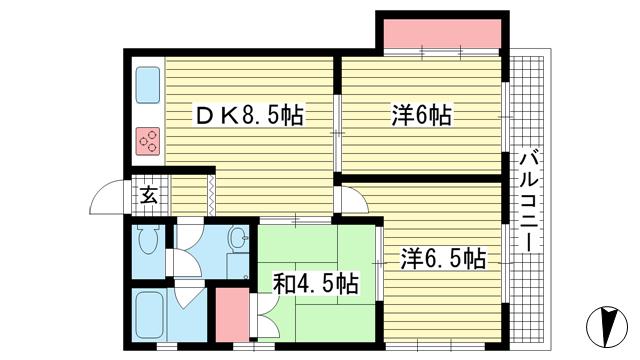物件番号: 1025881882 サンハイツ神有  神戸市兵庫区永沢町2丁目 3DK マンション 間取り図