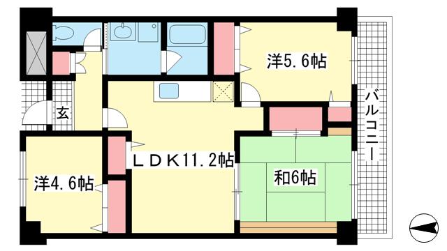 物件番号: 1025881884 カナル兵庫  神戸市兵庫区浜崎通 3LDK マンション 間取り図