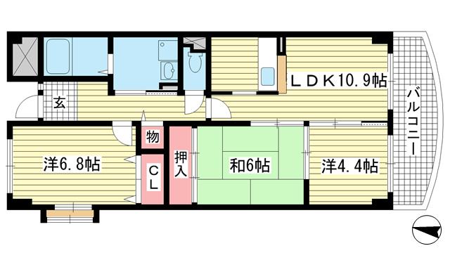 物件番号: 1025881885 エヴァグリーン岡本  神戸市東灘区岡本8丁目 3DK マンション 間取り図