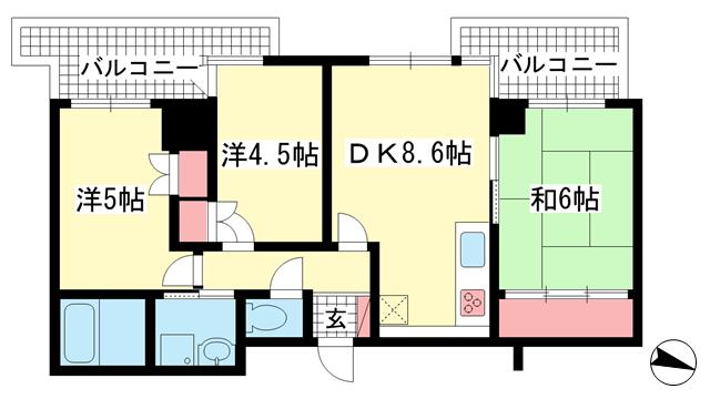 物件番号: 1025881887 ライオンズマンション三宮磯上公園  神戸市中央区八幡通1丁目 3DK マンション 間取り図