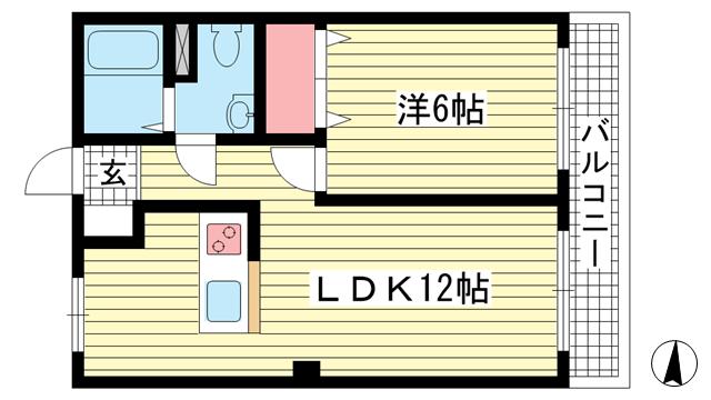 物件番号: 1025881892 ビューハイツ花隈  神戸市中央区花隈町 1LDK マンション 間取り図