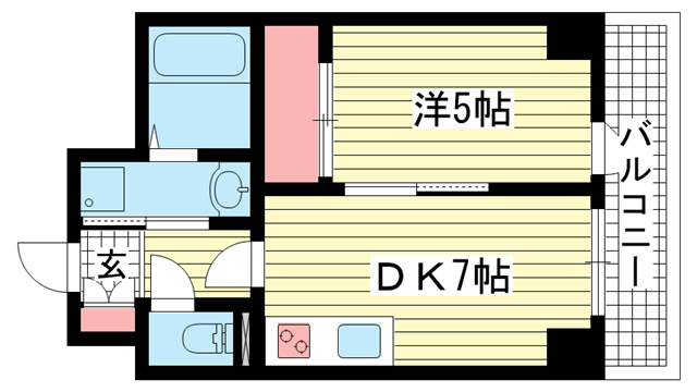 物件番号: 1025881893 グラン アクシス  神戸市中央区東雲通1丁目 1DK マンション 間取り図