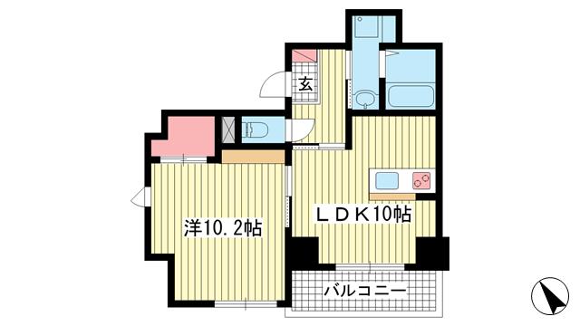 物件番号: 1025881895 グラン アクシス  神戸市中央区東雲通1丁目 1DK マンション 間取り図