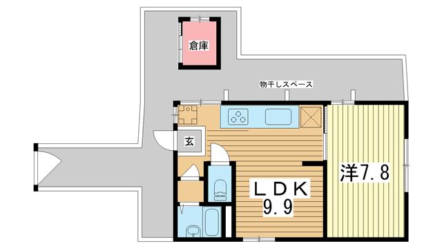 物件番号: 1025881896 トカーナ大日  神戸市中央区大日通2丁目 1LDK 貸家 間取り図