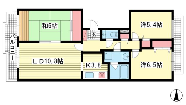 物件番号: 1025881897 シュネルパーク・レジデンス  神戸市東灘区西岡本6丁目 3LDK マンション 間取り図