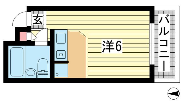 物件番号: 1025881903 フォート中山  神戸市中央区山本通4丁目 1R マンション 間取り図