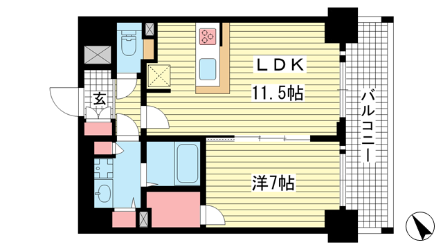 物件番号: 1025881908 プレサンス THE 神戸  神戸市兵庫区西出町 1LDK マンション 間取り図