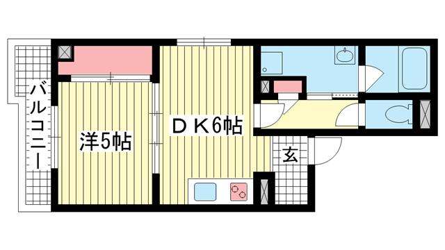 物件番号: 1025881912 新神戸都マンション  神戸市中央区生田町2丁目 1DK マンション 間取り図