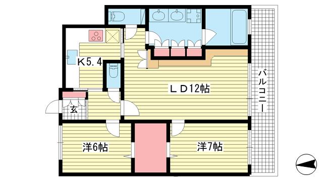 物件番号: 1025881916 ワコーレ神戸北野セリュックス  神戸市中央区加納町2丁目 2LDK マンション 間取り図
