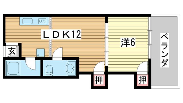 物件番号: 1025881927 MANSION YANO  神戸市中央区中山手通6丁目 1LDK マンション 間取り図