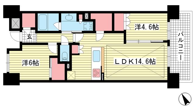物件番号: 1025881929 パークホームズ神戸ザレジデンス  神戸市中央区栄町通7丁目 2LDK マンション 間取り図