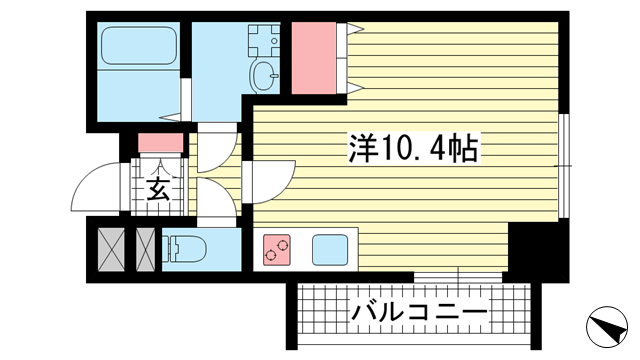 物件番号: 1025881942 SDグランツ神戸大開通  神戸市兵庫区大開通7丁目 1R マンション 間取り図