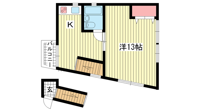 物件番号: 1025881965 セガワハウス  神戸市中央区山本通4丁目 1K アパート 間取り図