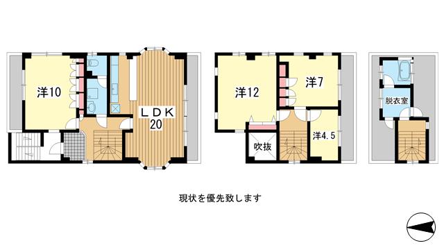 物件番号: 1025881976 水道筋3丁目貸家  神戸市灘区水道筋3丁目 4LDK マンション 間取り図