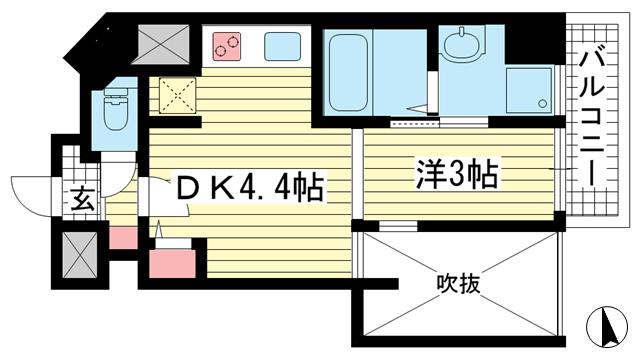 物件番号: 1025881991 THE GRID北野坂  神戸市中央区中山手通1丁目 1DK マンション 間取り図