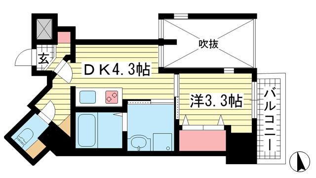 物件番号: 1025881997 THE GRID北野坂  神戸市中央区中山手通1丁目 1DK マンション 間取り図