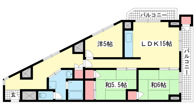 物件番号: 1025882005 北野ロイヤルハイツ  神戸市中央区北野町4丁目 3LDK マンション 間取り図