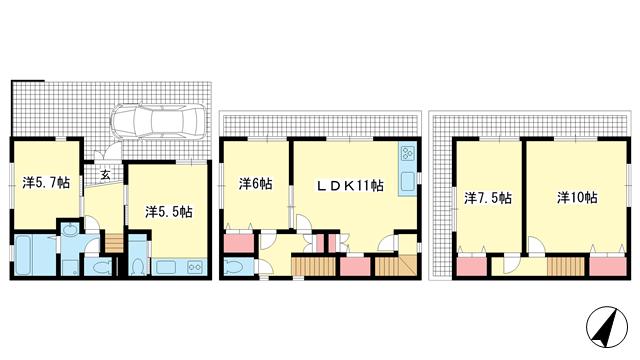 物件番号: 1025882006 灘北通6丁目貸家  神戸市灘区灘北通6丁目 5LDK 貸家 間取り図