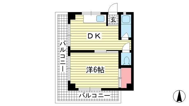 物件番号: 1025882007 メゾン神戸県庁前  神戸市中央区花隈町 1DK マンション 間取り図