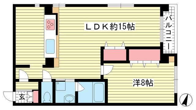 物件番号: 1025882008 ワコーレアルテ上筒井  神戸市中央区野崎通3丁目 1LDK マンション 間取り図