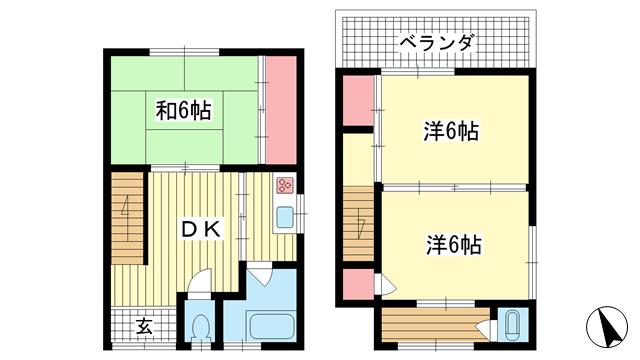 物件番号: 1025882012 長楽町貸家  神戸市長田区長楽町6丁目 3DK 貸家 間取り図