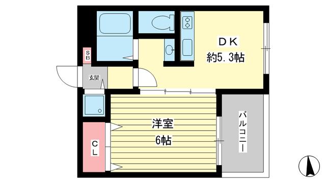 物件番号: 1025882013 ラフォーレ湊川  神戸市兵庫区松本通4丁目 1DK マンション 間取り図