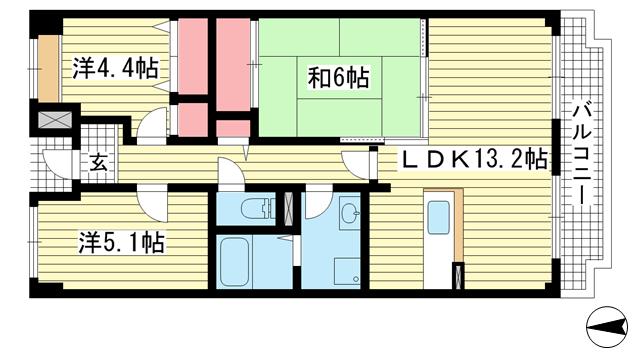 物件番号: 1025882050 オルテンシア神戸  神戸市東灘区本庄町1丁目 3LDK マンション 間取り図