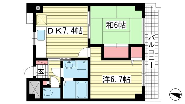 物件番号: 1025882064 ルブニール西郷  神戸市灘区大石東町4丁目 2DK マンション 間取り図