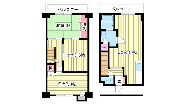 物件番号: 1025882071 サザン神戸品川  神戸市中央区相生町4丁目 3LDK マンション 間取り図