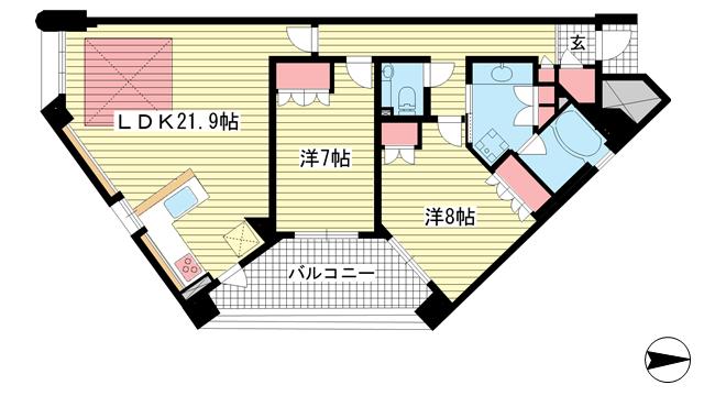 物件番号: 1025882073 ワコーレ ザ・トアロードレジデンス  神戸市中央区中山手通2丁目 2LDK マンション 間取り図