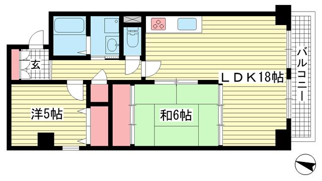 物件番号: 1025882074 シャンボール三宮  神戸市中央区熊内町4丁目 2LDK マンション 間取り図