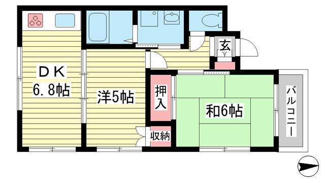 物件番号: 1025882079 ベルンハイム  神戸市兵庫区熊野町4丁目 2DK ハイツ 間取り図
