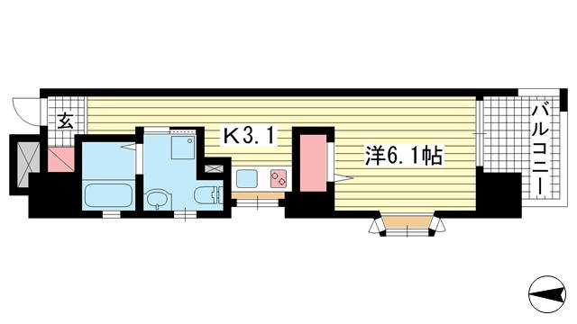 物件番号: 1025882085 ワコーレエキサイド岡本  神戸市東灘区岡本1丁目 1K マンション 間取り図