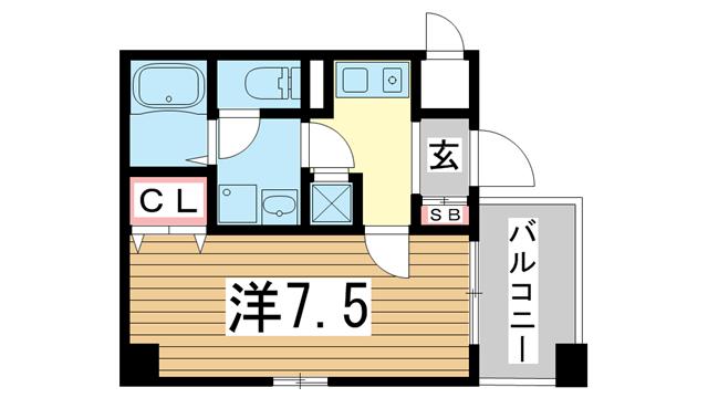 物件番号: 1025882090 アスヴェル神戸元町  神戸市中央区元町通3丁目 1K マンション 間取り図