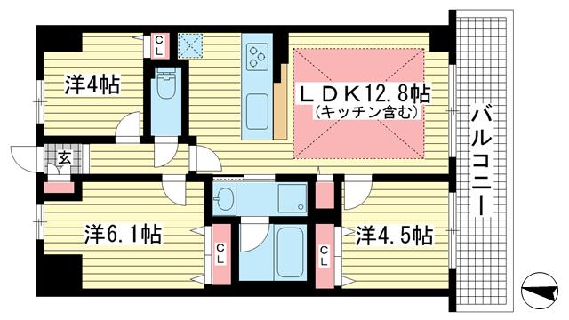 物件番号: 1025882107 リベールKOBE兵庫ジェネックス  神戸市兵庫区松原通5丁目 3LDK マンション 間取り図