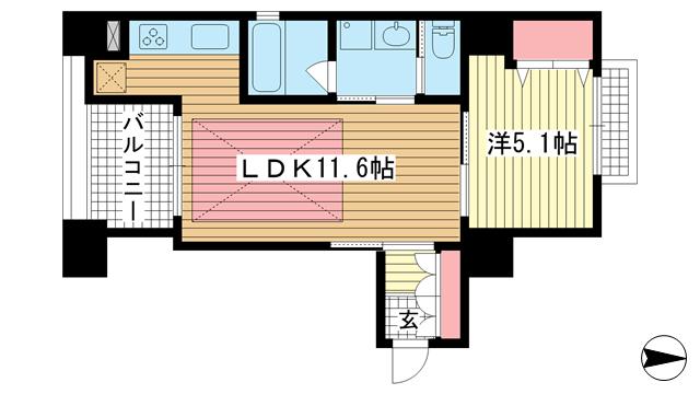 物件番号: 1025882111 ワコーレ元町山手I.D.  神戸市中央区下山手通5丁目 1LDK マンション 間取り図