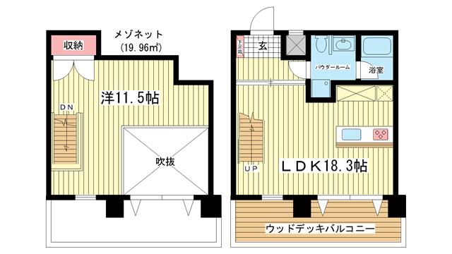 物件番号: 1025882112 WOB ROKKOHMICHI  神戸市灘区友田町3丁目 1LDK マンション 間取り図