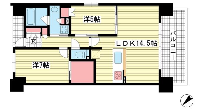 物件番号: 1025882120 プレサンスロジェ西神南  神戸市西区井吹台西町8丁目 2LDK マンション 間取り図