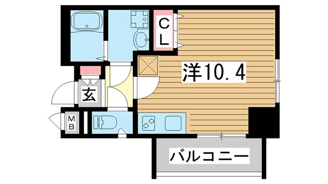 物件番号: 1025882122 SDグランツ神戸大開  神戸市兵庫区大開通7丁目 1K マンション 間取り図