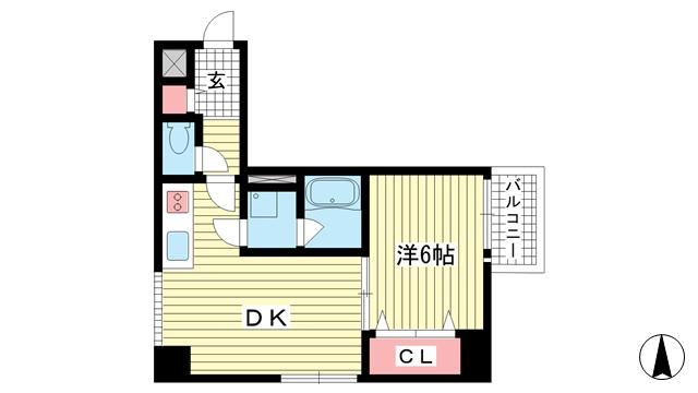 物件番号: 1025882126 ダイアパレス新神戸  神戸市中央区生田町1丁目 1DK マンション 間取り図